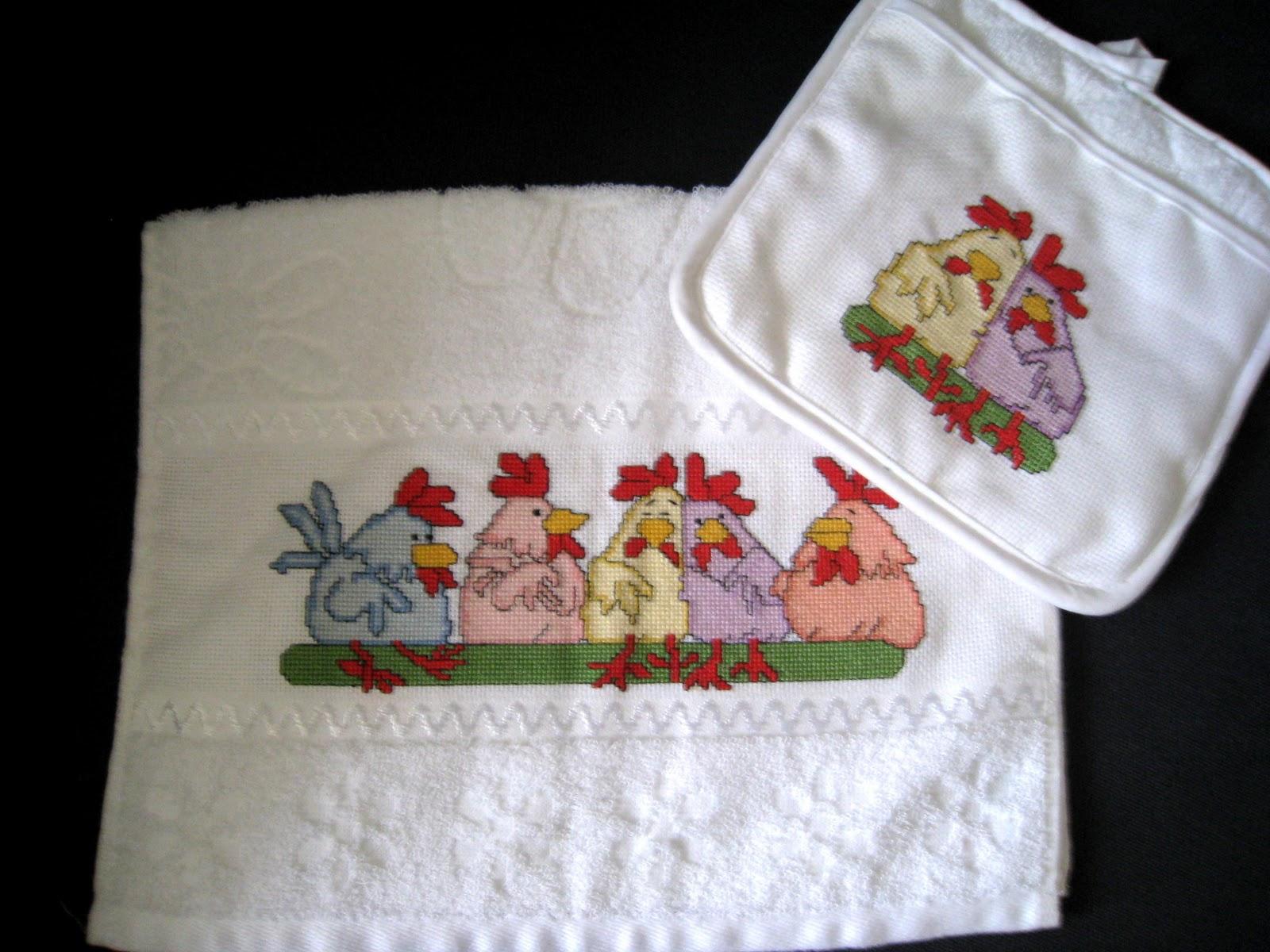 Creaci n punto por punto toallas para cocina en punto de cruz - Punto de cruz cocina ...