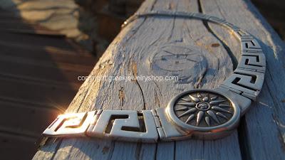 Greek Jewelry Meander Necklace-Greek Key pattern Griechisch Schmuck aus Silber. Altgriechisch meandros Halskette mit uraltes Symbol Mazedonien