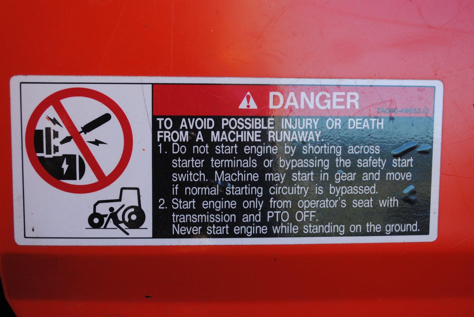 Tractor Pto Warning Decals : Cairncrest farm danger