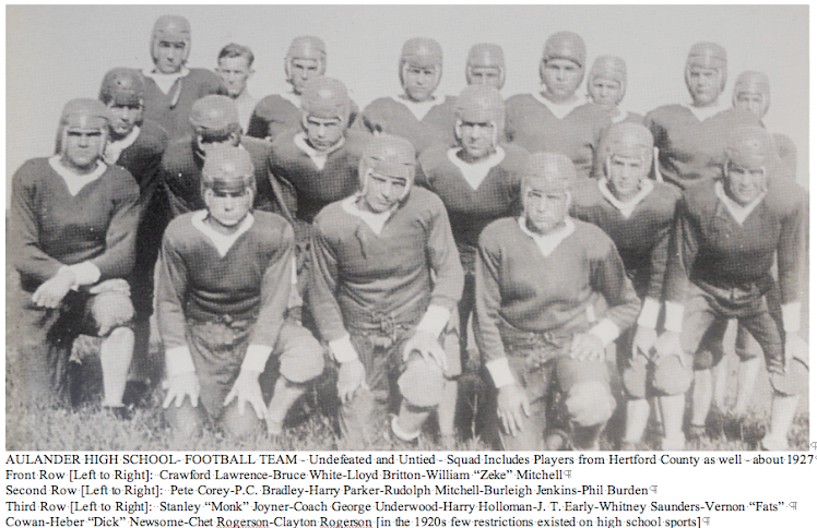Aulander High School - Football Team - 1927 - 1928 -  Photo from Thomas Hall, Class of 1950