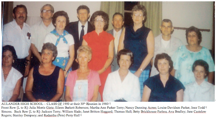 Aulander High School, Class of 1950, 30th Reunion - 1980  - Thanks to Thomas Hall for this Photo