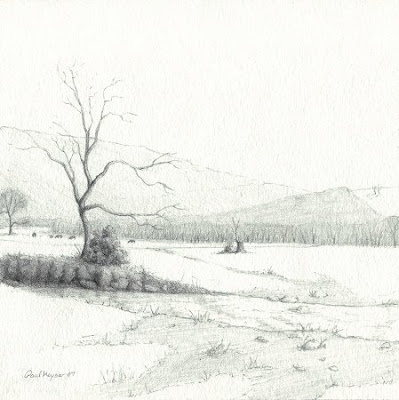 Cattle in Winter, Original Graphite Drawing by Paul Keysar