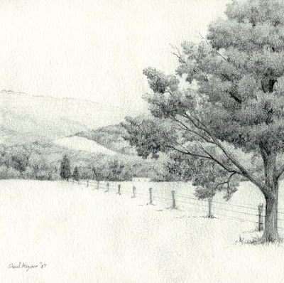 Sketch for Autumn Rain - Original Graphite Drawing by Paul Keysar