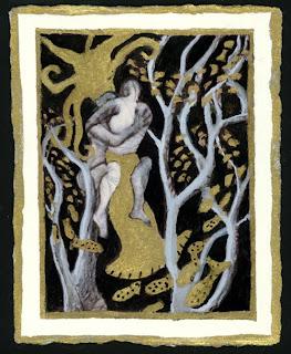Surreal, sensual ink painting of a merman and human woman mating.