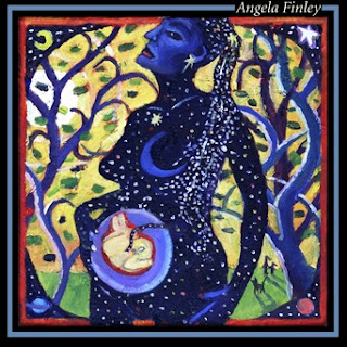 This is the Front Cover of surreal art for Angela Finley folk album. It contains landscape, space, maternal and in utero imagery.ry