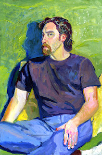 Oil painting portrait of Scott Gordon, seated