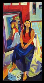 Oil painting life sized full figured portrait-- seated figure