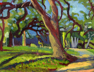Oil painting of an oak tree in a park in Austin, TX
