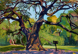 Oil painting of an oak tree in Stacy Park, Austin, TX