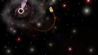 Flying kitties in cardboard spaceship ignoring laws of gravity and leaving black hole