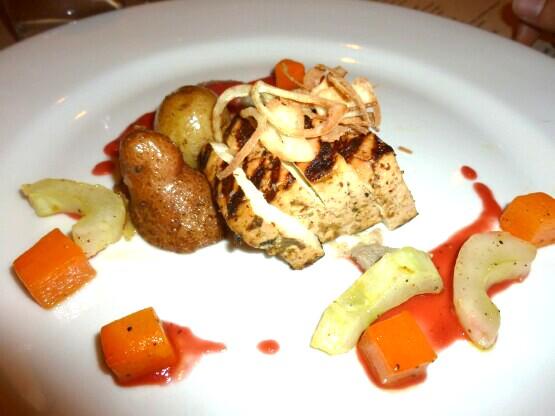 , grilled tofu with carrots, eggplant, crispy shallots, roasted ...