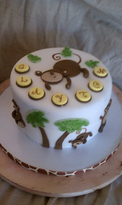 Cake hope and love monkey themed baby shower cake - Baby shower monkey theme cakes ...