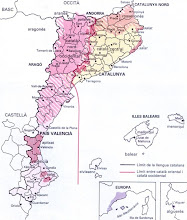 Area del levante de la Peninsula Ibérica de lenguas catalanas