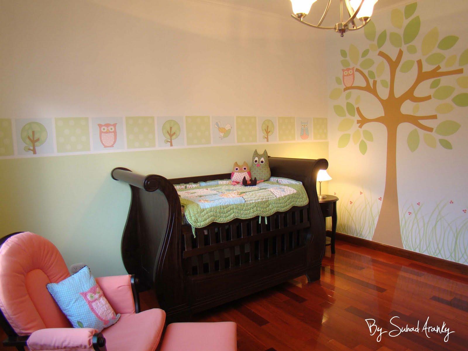 Murales en dormitorios cuarto ni a buhos for Murales infantiles nina
