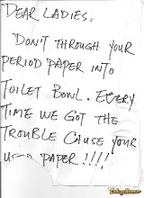 "A note found in the rest-room regarding female ""napkins"""