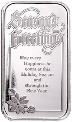 Seasons Greetings Bar Silver - 2009 Copyright Northwest Territorial Mint