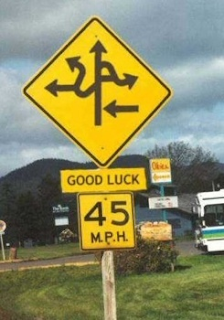 confusing map on sign along with good luck