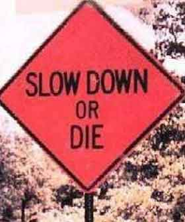 Slow Down Or Die Sign