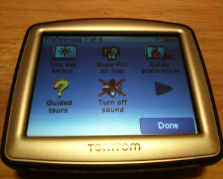 TomTom One 130 Preferences Screen