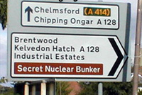 Secret Nuclear Bunker on public sign