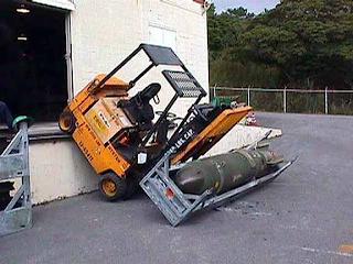Forklift falls off loading dock