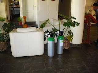 Oxygen cylinders in hotel lobby