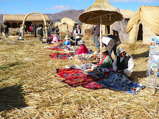 Marketplace on Uros island selling handicrafts to tourists
