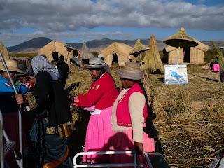 Uros islanders welcome tourists