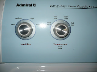 Admiral washer load size and temperature control knobs