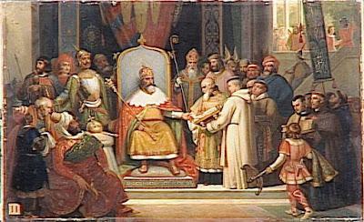 Le tr ne et l 39 autel tableaux de charlemagne 742 814 roi des francs roi des lombards et - Geloof peinture ...