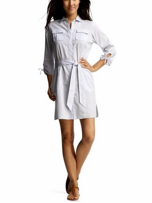 Now these shirt dresses do have a feminine edge with cinched in waists and