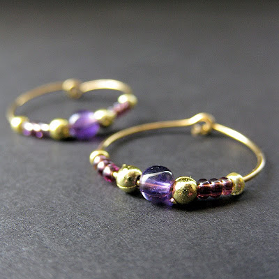 Handmade Amethyst Hoop Earrings