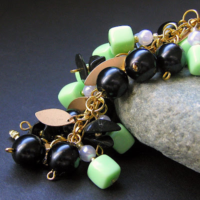 Triumphant Charm Bracelet in Black, Gold and Vintage Green