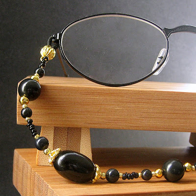 Classic Beauty and Versatility - Black and Gold Beaded Eyeglass Lanyard