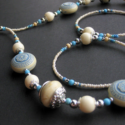 Grecian Blue and Cream Beaded Lanyard