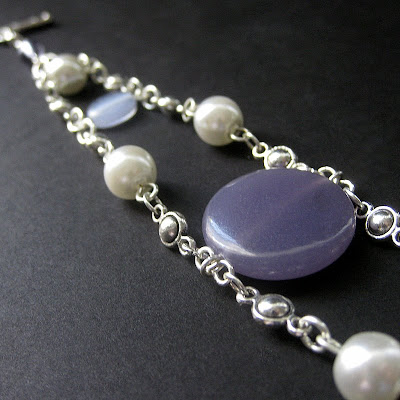 Lilac Angelite Gemstone Bracelet in Silver and Pearls