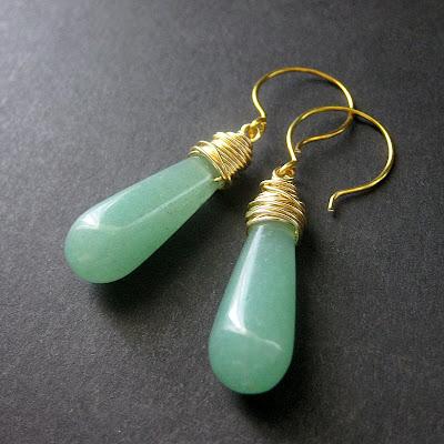 Green Aventurine Long Teardrop Wire Wrapped Earrings in Gold