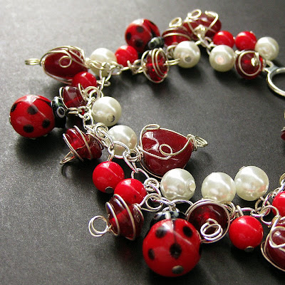 Ladybug Love Handmade Charm Bracelet in Red