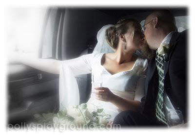 bride and groom kiss in limo