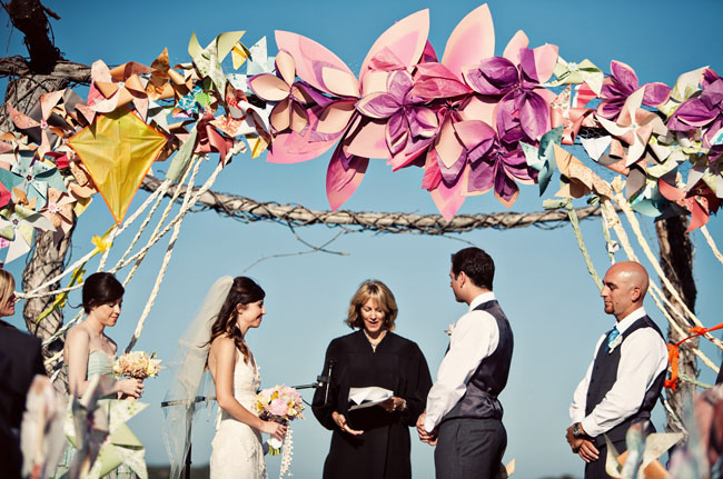 This teal and yellow circus wedding AHEM found via Style Me Pretty
