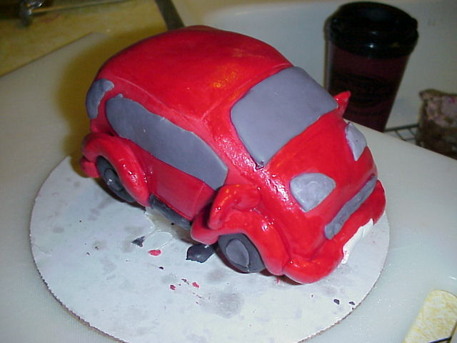 the first sculpted cake car