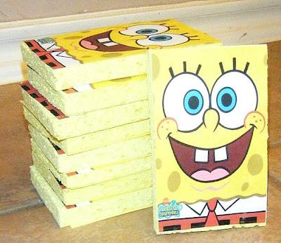 Sponge Bob Party Invitations on a Sponge