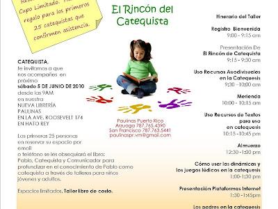 Invitación  1er Taller Rincón Del Catequista EXITO TOTAL SE LLENÓ!!!!!!!!