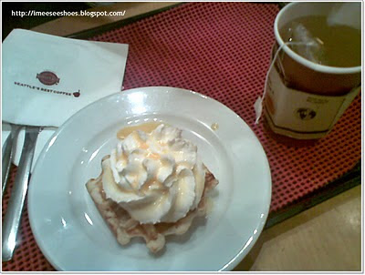 waffle, chamomile, tea