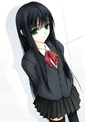 Poze Anime Girl With Black Hair And Green Eyes