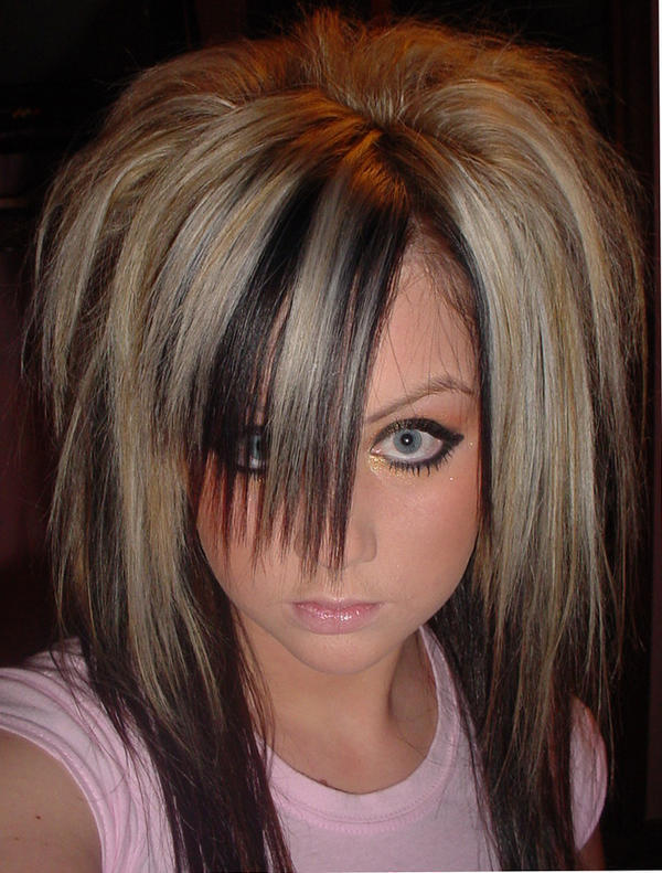 Long blonde scene hairstyle scene girls hairstyle pink black hairstyle for
