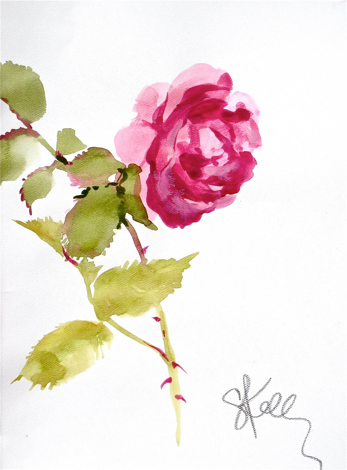 another LOOK Pink Rose stem watercolor flower by Gretchen Kelly