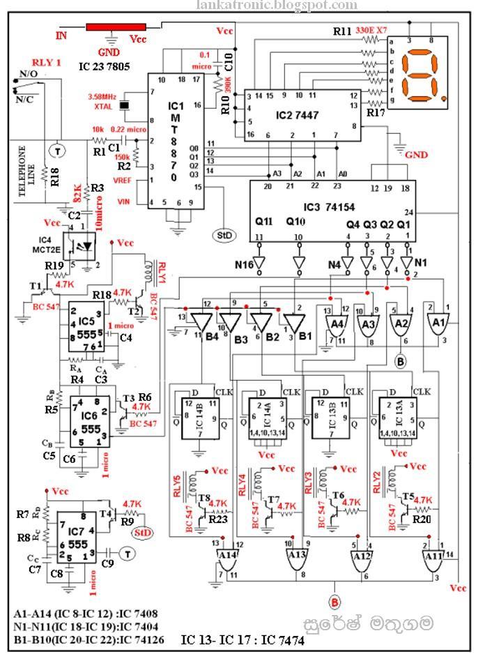 Dtmf Decoder Circuit Diagram | Lankatronic ල ක ට ර න ක වයර ලස ර ම ට