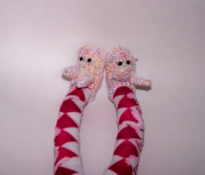 sock monkey rabbit slippers