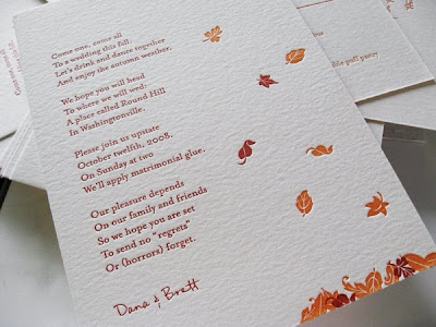 Falling leaves and an invitation poem by a lovely couple from New York
